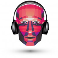abstraction. DJ and headphones on a white background. vector illustration